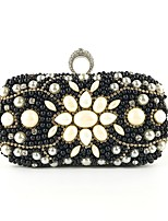 cheap -Women's Bags Polyester Evening Bag Beading / Crystals Floral Print Black