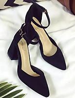 Недорогие -Жен. Комфортная обувь Замша Весна Обувь на каблуках На толстом каблуке Зеленый / Розовый / Хаки
