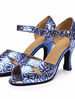 Недорогие -Жен. Обувь для латины Полиуретан На каблуках Тонкий высокий каблук Танцевальная обувь Синий