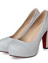 Недорогие -Жен. Балетки Полиуретан Весна Обувь на каблуках На толстом каблуке Черный / Серебряный / Красный
