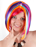 billiga -Syntetiska peruker / Kostymperuker Rak Nyans Bob-frisyr Syntetiskt hår 14 tum Moderiktig design / Cosplay / Bekväm Nyans Peruk Dam Korta Maskingjord Regnbåge