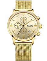 cheap -MEGIR Men's Sport Watch Dress Watch Japanese Quartz 30 m Water Resistant / Water Proof Calendar / date / day Chronograph Stainless Steel Band Analog Luxury Fashion Black / Silver / Gold - Black