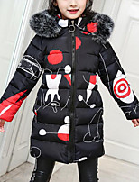 cheap -Kids Girls' Active / Street chic Going out Print / Patchwork Patchwork / Print Long Sleeve Long Down & Cotton Padded