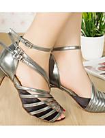 Недорогие -Жен. Обувь для латины Полиуретан На каблуках Тонкий высокий каблук Танцевальная обувь Черный / Серый / Телесный