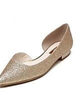 baratos -Mulheres Sapatos Confortáveis Sintéticos Primavera Verão Rasos Sem Salto Dourado / Azul Escuro / Arco-íris