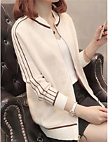 cheap -women's going out long sleeve cardigan - color block stand