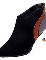 Недорогие -Жен. Ботильоны Замша Осень На каждый день Ботинки Прозрачный каблука Ботинки Черный / Миндальный / Контрастных цветов