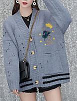 cheap -women's long sleeve loose cardigan - geometric v neck