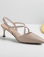 Недорогие -Жен. Обувь Наппа Leather Лето Удобная обувь / Туфли лодочки Обувь на каблуках На шпильке Черный / Миндальный