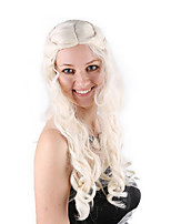 Недорогие -Парики из искусственных волос / Маскарадные парики Кудрявый Золотистый тесьма Искусственные волосы 30 дюймовый Аниме / Косплей / Женский Золотистый Парик Жен. Длинные Машинное плетение Светло-золотой