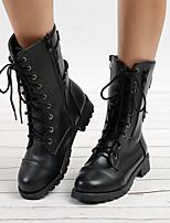 Недорогие -Жен. Fashion Boots Полиуретан Наступила зима Английский Ботинки На низком каблуке Круглый носок Сапоги до середины икры Заклепки Черный