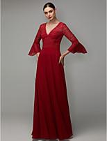 baratos -Linha A Decote V Longo Chiffon / Renda Evento Formal Vestido com Apliques de TS Couture®