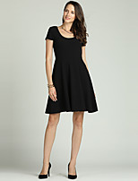 cheap -Suzanne Betro Women's Basic / Elegant A Line / Little Black / Swing Dress - Solid Colored Pleated