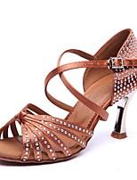 economico -Per donna Scarpe per balli latini Raso Tacchi Tacco alto sottile Scarpe da ballo Nero / Giallo