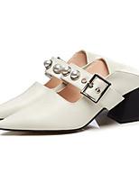 Недорогие -Жен. Наппа Leather Весна Туфли лодочки Обувь на каблуках На толстом каблуке Белый / Черный / Коричневый