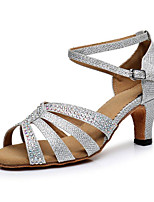 Недорогие -Жен. Обувь для латины Синтетика На каблуках Толстая каблук Танцевальная обувь Серебряный