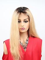 Недорогие -Remy Лента спереди Wig Бразильские волосы Прямой Парик Ассиметричная стрижка 130% / 150% Женский / Легко туалетный / Sexy Lady Жен. Очень длинный Парики из натуральных волос на кружевной основе