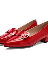 Недорогие -Жен. Комфортная обувь Полиуретан Весна / Лето На плокой подошве На толстом каблуке Закрытый мыс Черный / Красный