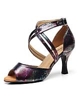economico -Per donna Scarpe per balli latini Di pelle Sandali Fibbia Tacco alto sottile Personalizzabile Scarpe da ballo Nero