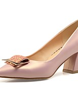 baratos -Mulheres Sapatos Confortáveis Couro Ecológico Primavera Verão Saltos Salto Robusto Branco / Rosa claro / Amêndoa
