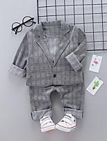 Недорогие -малыш Девочки Черное и белое Гусиная лапка / Шахматка Длинный рукав Набор одежды