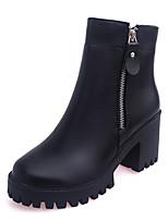 Недорогие -Жен. Fashion Boots Полиуретан Осень На каждый день Ботинки На толстом каблуке Круглый носок Ботинки Черный