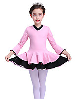 cheap -Ballet Dresses Girls' Training Cotton Ruching Long Sleeve High Dress