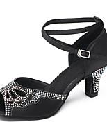 Недорогие -Жен. Обувь для латины Сатин На каблуках Тонкий высокий каблук Танцевальная обувь Черный