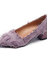 Недорогие -Жен. Полиуретан Лето Туфли лодочки Обувь на каблуках На толстом каблуке Заостренный носок Черный / Лиловый / Зеленый