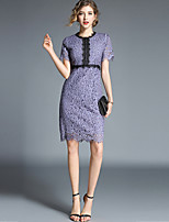 cheap -SHIHUATANG Women's Sophisticated / Elegant A Line Dress - Solid Colored Lace