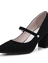 Недорогие -Жен. Балетки Замша Весна лето Обувь на каблуках На толстом каблуке Черный / Зеленый