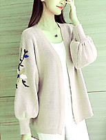 cheap -Women's Going out Long Sleeve Cardigan - Floral V Neck