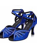 Недорогие -Жен. Обувь для латины Сатин На каблуках Тонкий высокий каблук Танцевальная обувь Черный / Синий