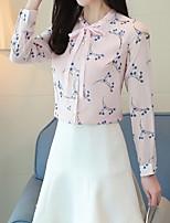 Недорогие -Жен. Шнуровка Блуза Классический Однотонный / Цветочный принт