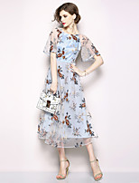 cheap -Women's Sophisticated / Elegant A Line Dress - Floral Embroidered