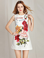cheap -Women's Street chic Shift Dress - Floral Beaded / Print