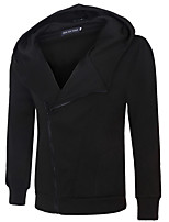 cheap -Men's Long Sleeve Slim Hoodie - Solid Colored Hooded