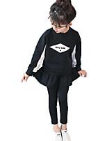 cheap -Kids Girls' Basic Print Long Sleeve Cotton Clothing Set
