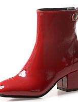 billiga -Dam Fashion Boots Lack Höst vinter Stövlar Block Heel Fyrkantig tå Korta stövlar / ankelstövlar Svart / Beige / Vin / Fest / afton