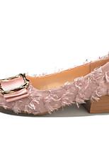 Недорогие -Жен. Полиуретан Лето Туфли лодочки Обувь на каблуках На низком каблуке Квадратный носок Черный / Бежевый / Розовый