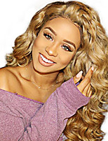 cheap -Virgin Human Hair Full Lace Wig Brazilian Hair Curly Wig With Ponytail 130% Women / Sexy Lady / Natural Blonde Women's Long Human Hair Lace Wig