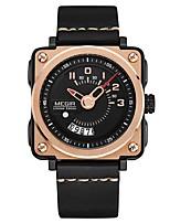 preiswerte -MEGIR Herrn Sportuhr Japanisch Quartz 30 m Wasserdicht Kalender Armbanduhren für den Alltag Echtes Leder Band Analog Freizeit Modisch Schwarz - Schwarz Rotgold