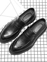 cheap -Men's Microfiber Spring / Fall Moccasin Loafers & Slip-Ons Black / Brown