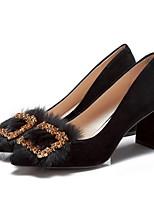 Недорогие -Жен. Комфортная обувь Замша Весна Обувь на каблуках На толстом каблуке Черный / Верблюжий