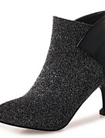 cheap -Women's Shoes Elastic Fabric / Synthetics Fall & Winter Bootie Boots Kitten Heel Pointed Toe Booties / Ankle Boots Black / Silver / Party & Evening