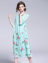 economico -Per donna Vintage / Stoffe orientali Swing Vestito - Con ricami, Fantasia floreale Medio