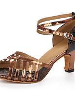 Недорогие -Жен. Обувь для латины Полиуретан На каблуках Толстая каблук Танцевальная обувь Серебряный / Коричневый