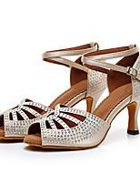 baratos -Mulheres Sapatos de Dança Latina Couro Sintético / Couro Ecológico Sandália Gliter com Brilho / Detalhes em Cristal / Saiu ao lado Salto Grosso Personalizável Sapatos de Dança Bege / Cinzento / Azul