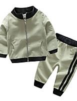 Недорогие -Дети / Дети (1-4 лет) Мальчики Классический Однотонный Длинный рукав Хлопок Набор одежды