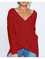 cheap -women's going out long sleeve slim cardigan - solid colored deep v